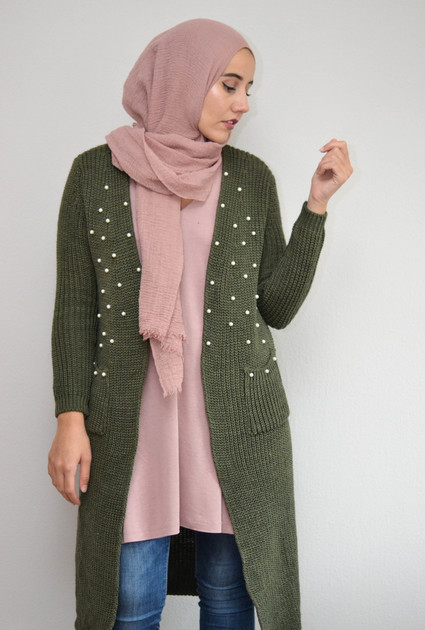 Knitted Pearl Vest - GREEN