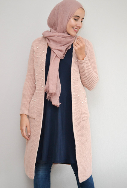Knitted Pearl Vest - PINK