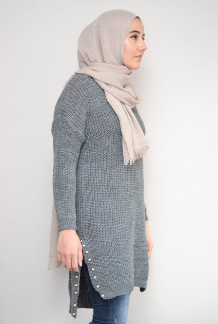 Sweater knit pearl - GREY