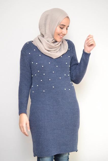 Sweaterdress pearl - BLUE