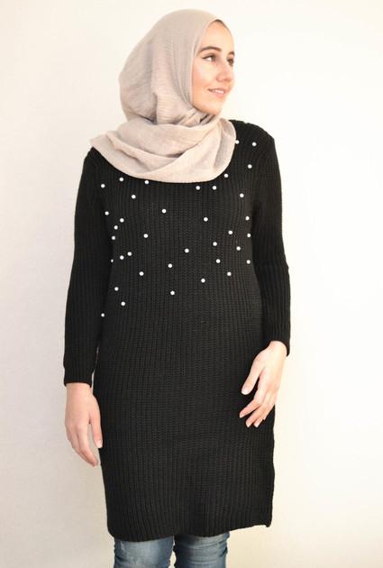 Sweaterdress pearl - BLACK
