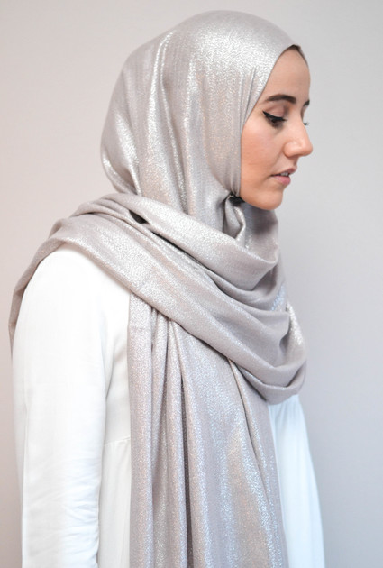 Sjaal Glam - TAUPE ZILVER