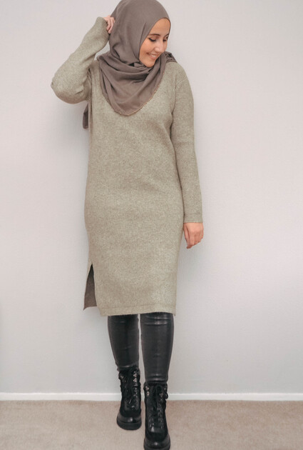 Sweaterjurk Emma - TAUPE