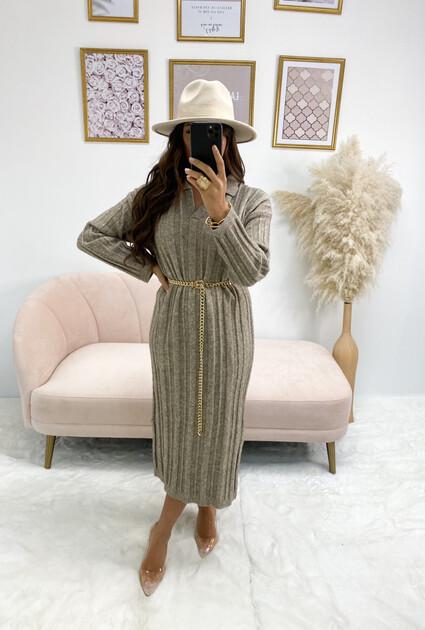 Sweater jurk Lynda - TAUPE